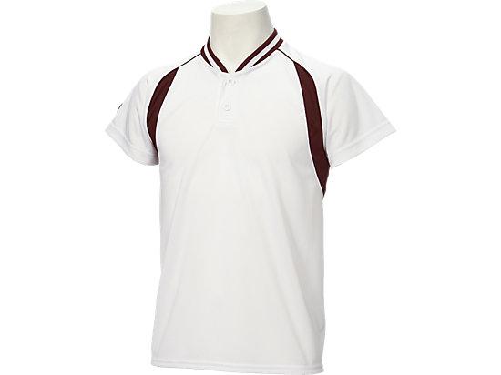 Jr.ベースボールシャツ, ホワイト×バーガンディ