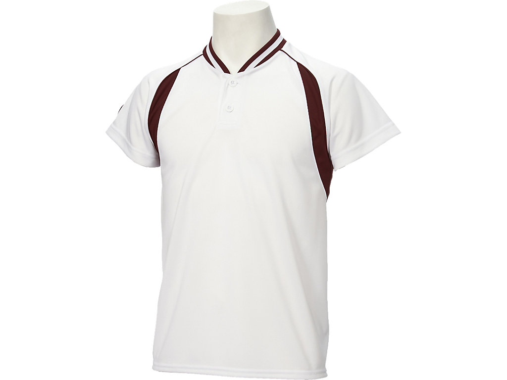 【ASICS/アシックス】 Jr.ベースボールシャツ ホワイトxエンジ キッズ_BAD12J