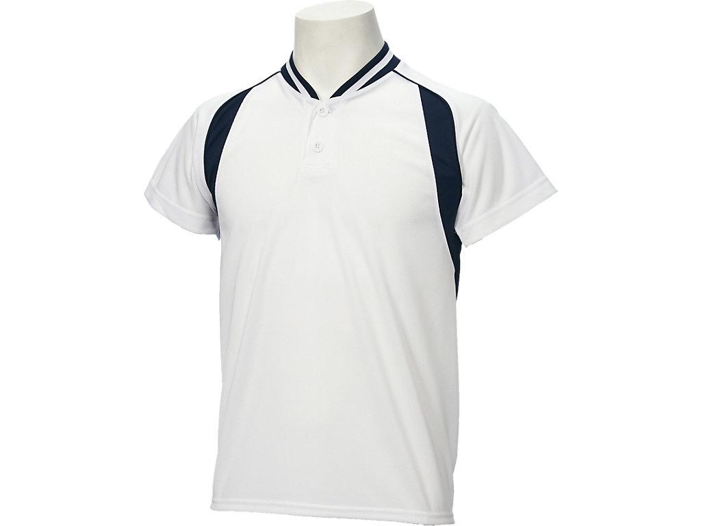 【ASICS/アシックス】 Jr.ベースボールシャツ ホワイトxネイビー キッズ_BAD12J