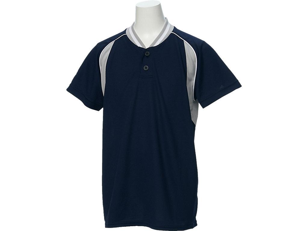 【ASICS/アシックス】 Jr.ベースボールシャツ ネイビーxS/グレー キッズ_BAD12J