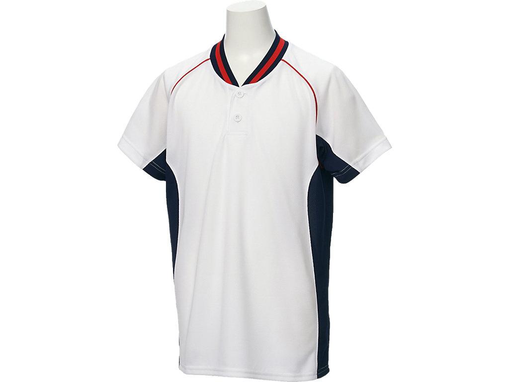 【ASICS/アシックス】 Jr.ベースボールシャツ ホワイトxネイビー キッズ_BAD20J