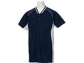 Jr.ベースボールシャツ, ネイビーブルー×ホワイト