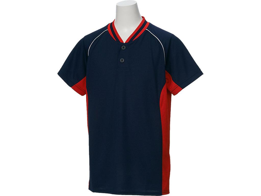 Jr.ベースボールシャツ:ネイビーxレッド