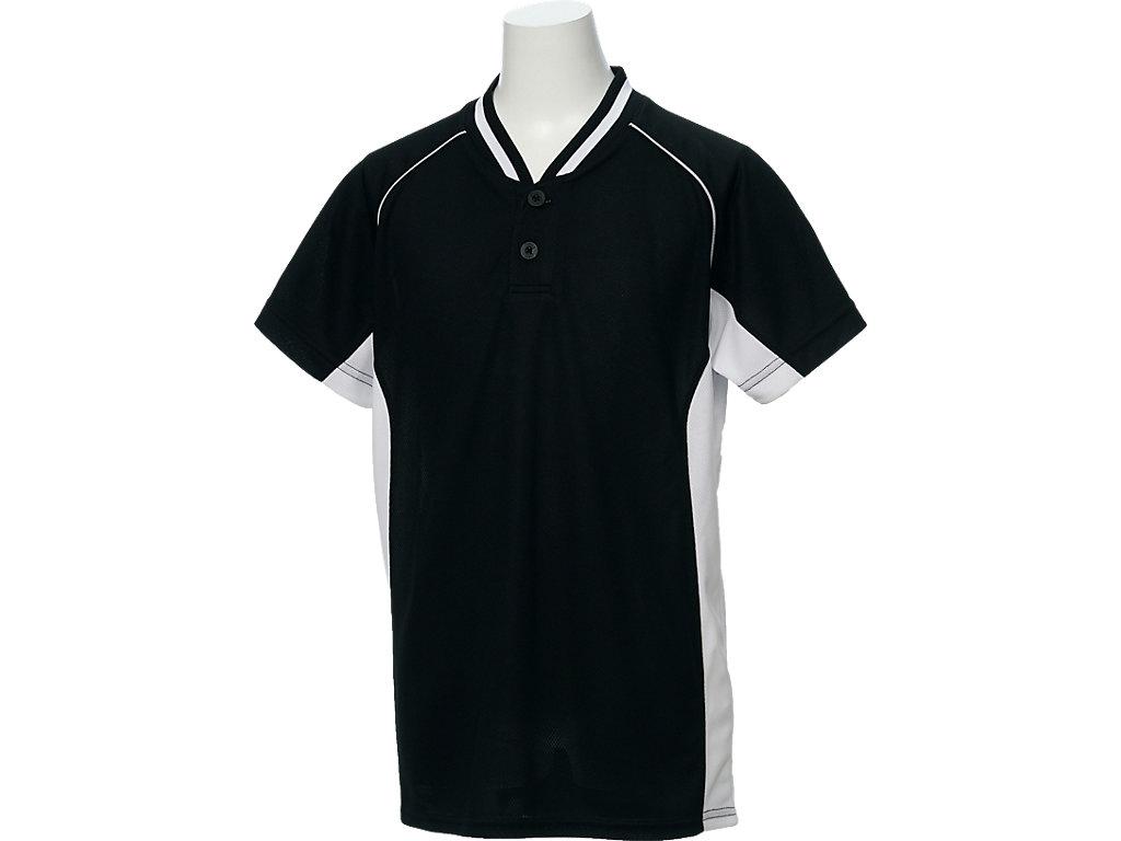 【ASICS/アシックス】 Jr.ベースボールシャツ ブラックxホワイト キッズ_BAD20J