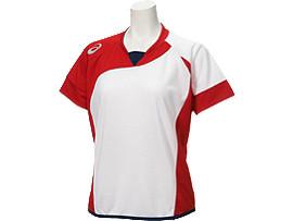 W'Sソフトボールシャツ(半袖), ホワイトxレッド