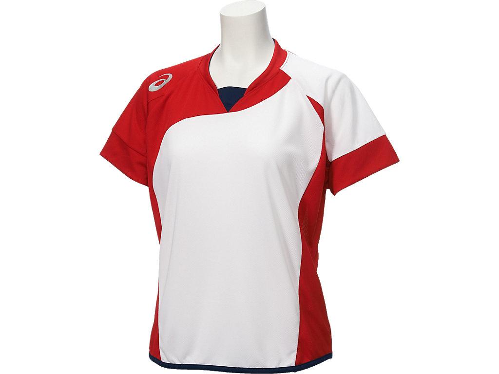 W'Sソフトボールシャツ(半袖):ホワイトxレッド