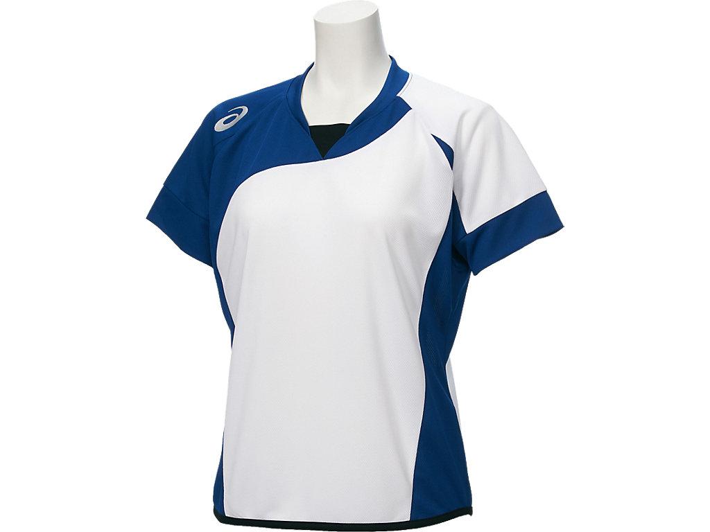 W'Sソフトボールシャツ(半袖):ホワイトxロイヤル