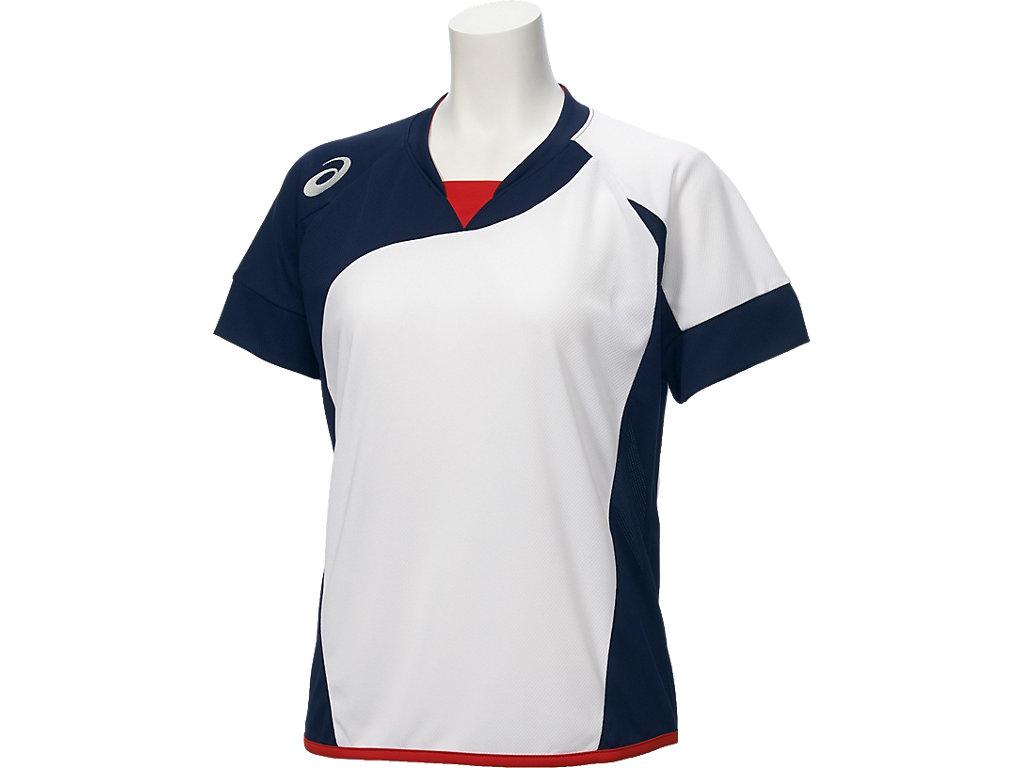W'Sソフトボールシャツ(半袖):ホワイトxネイビー