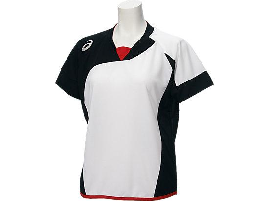 W'Sソフトボールシャツ(半袖), ホワイトxブラック
