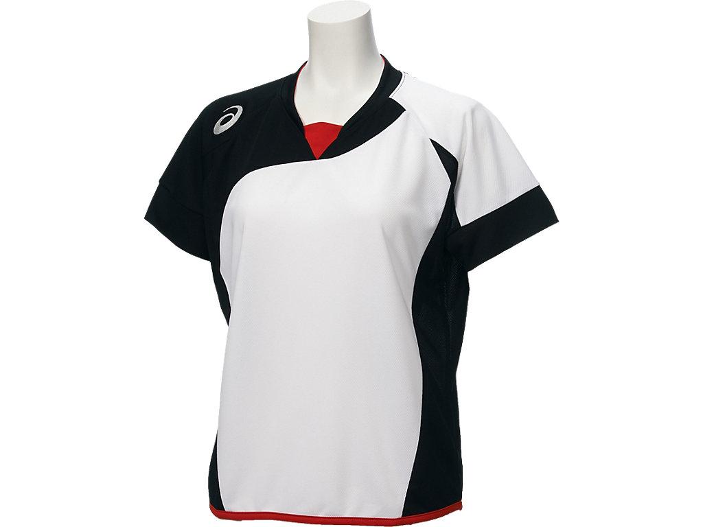W'Sソフトボールシャツ(半袖):ホワイトxブラック