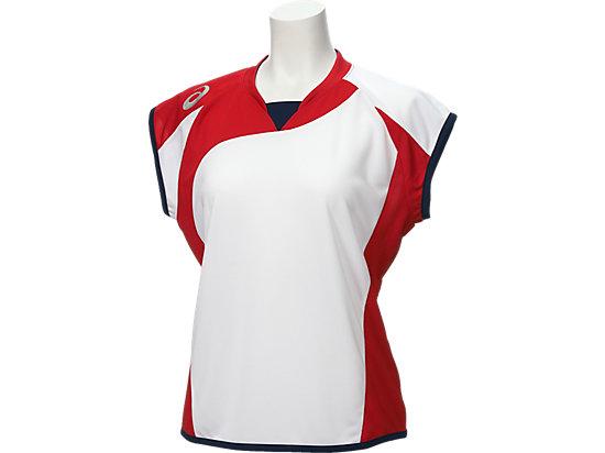 W'Sソフトボールシャツ(フレンチスリーブ), ホワイトxレッド