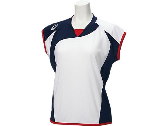 W'Sソフトボールシャツ(フレンチスリーブ), ホワイト×ネイビー