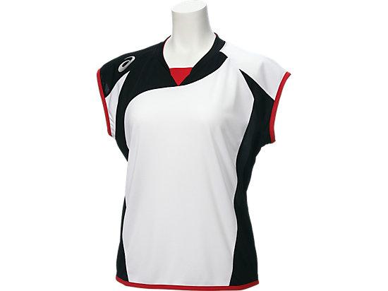 W'Sソフトボールシャツ(フレンチスリーブ), ホワイトxブラック