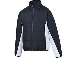 [ゴールドステージ] ジュニア用グラウンドコート, ネイビーブルー×ホワイト