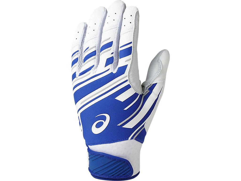 バッティング用手袋(両手):ホワイト×ロイヤル