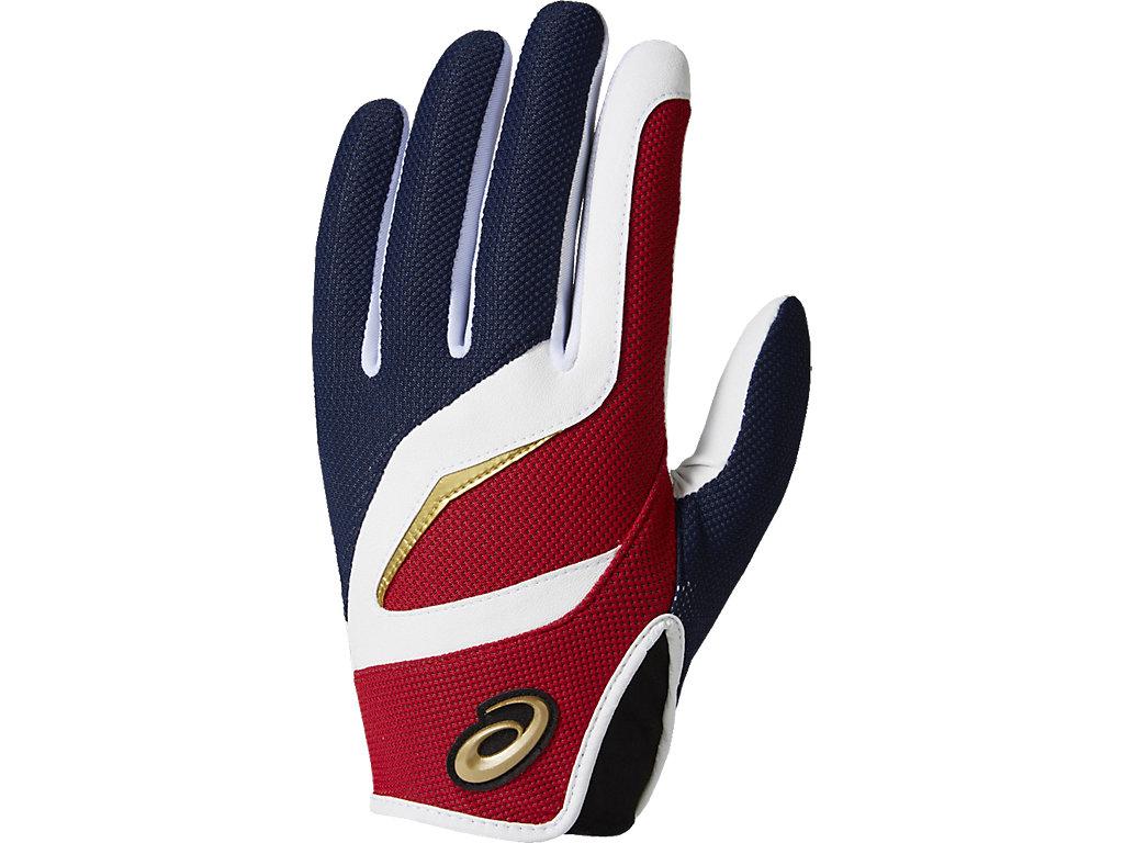 [ゴールドステージ]守備用手袋(片手):ネイビー×レッド
