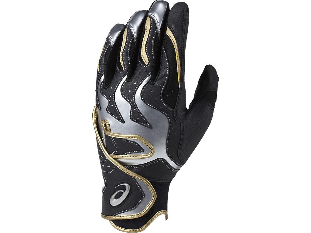 【ASICS/アシックス】 バッティング用手袋(両手) ブラックxシルバー メンズ_BEG270