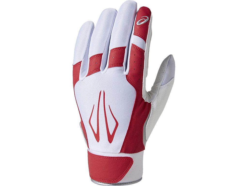 ASICS ONLINE STORE アシックスオンラインストア【ASICS/アシックス】 守備用手袋(片手) ホワイトxレッド メンズ_BEG370