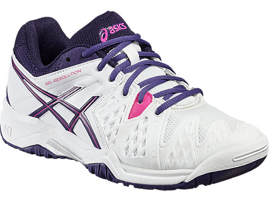 GEL-RESOLUTION 6 GS WHITE/PARACHUTE PURPLE/HOT PINK 7