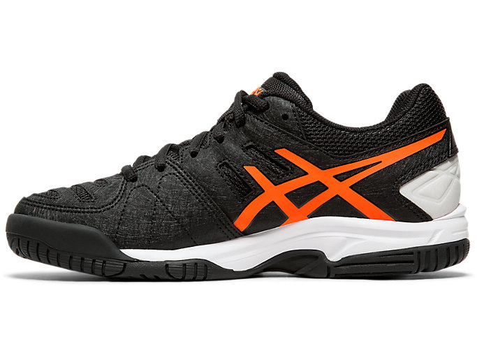 Left side view of GEL-PADEL™ PRO 3 GS, BLACK/FLASH CORAL