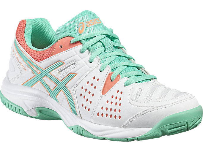 Front Right view of GEL-PADEL™ PRO 3 GS, WHITE/COCKATOO/FLASH CORAL