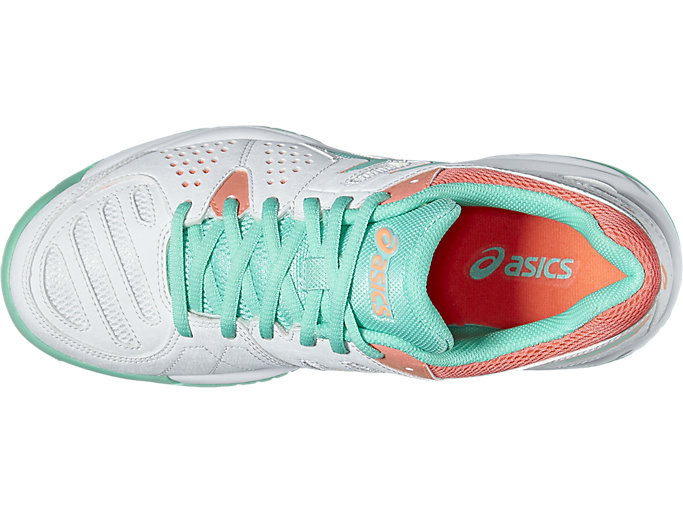 Top view of GEL-PADEL™ PRO 3 GS, WHITE/COCKATOO/FLASH CORAL