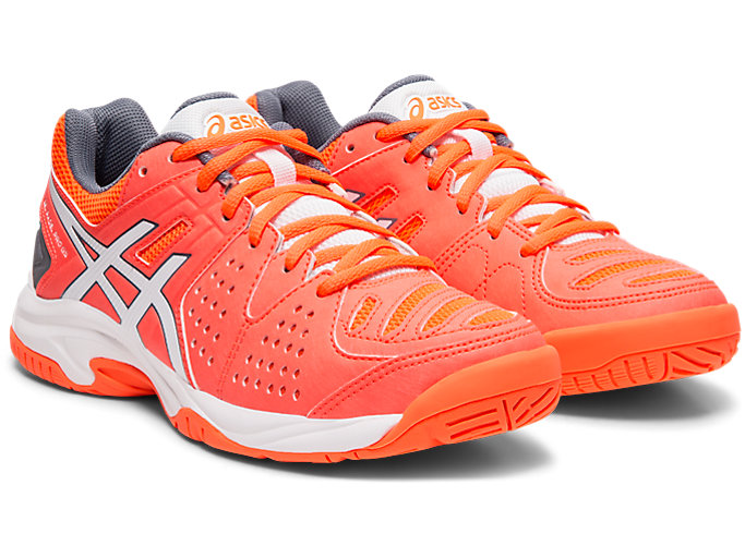 Front Right view of GEL-PADEL PRO 3 GS, FLASH CORAL/WHITE
