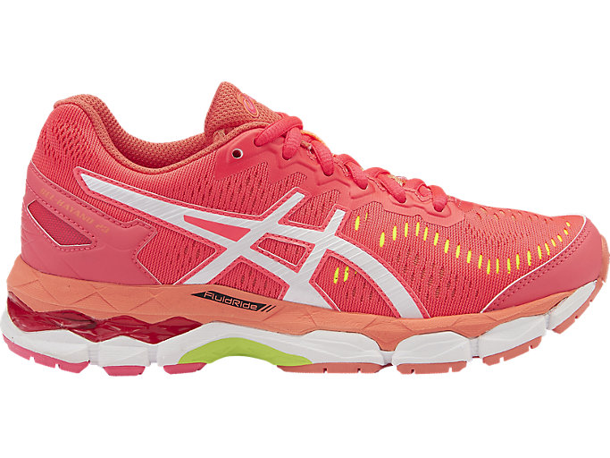 Right side view of GEL-KAYANO 23 GS, Diva Pink/White/Flash Coral
