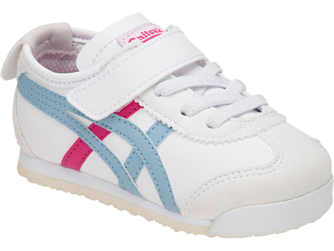 Front Right view of Mexico 66 Toddler, WHITE/SMOKE LIGHT BLUE