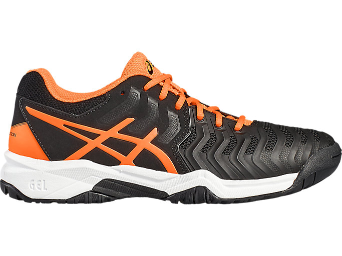 Front Right view of GEL-RESOLUTION 7 GS, BLACK/SHOCKING ORANGE/WHITE