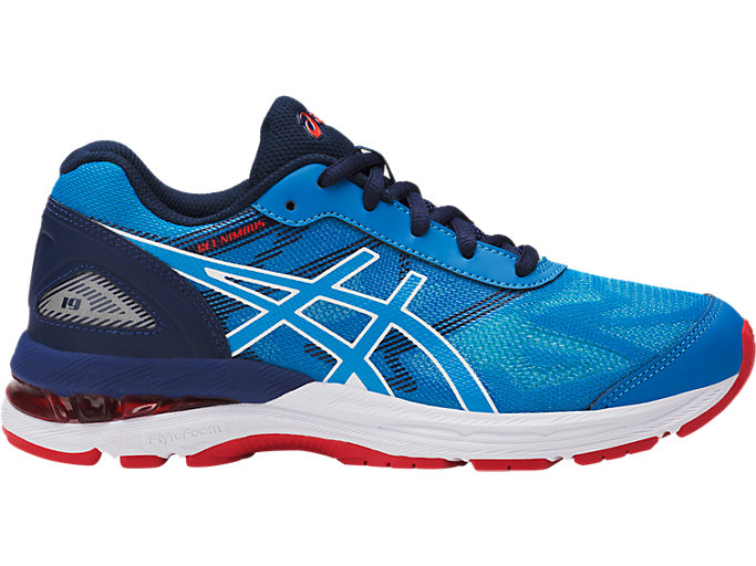 Right side view of GEL-NIMBUS 19 GS, DIVA BLUE/WHITE/INDIGO BLUE