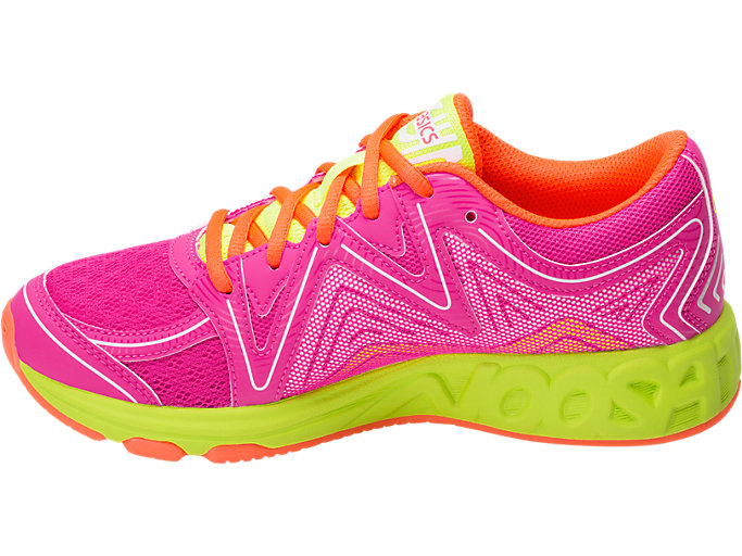 Left side view of Noosa GS, PINK GLO/FLASH YELLOW