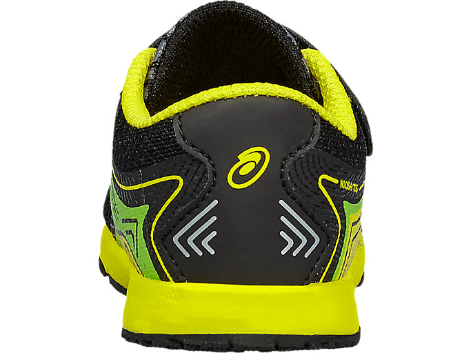 Back view of NOOSA TS, Black/Safety Yellow/Green Gecko