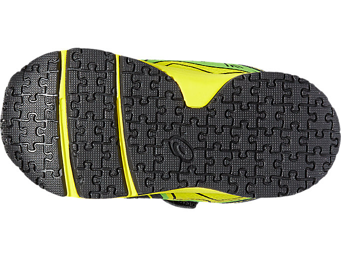 Bottom view of NOOSA TS, Black/Safety Yellow/Green Gecko
