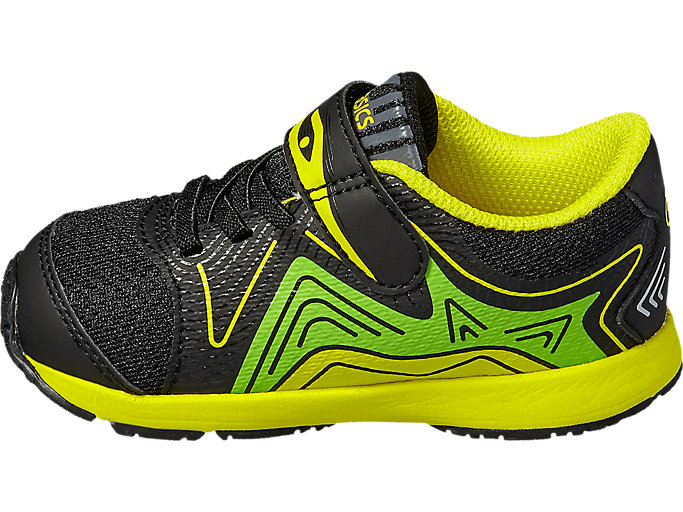 Left side view of NOOSA TS, Black/Safety Yellow/Green Gecko