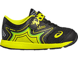 Right side view of NOOSA TS HARDLOOPSCHOENEN VOOR KINDEREN, Black/Safety Yellow/Green Gecko