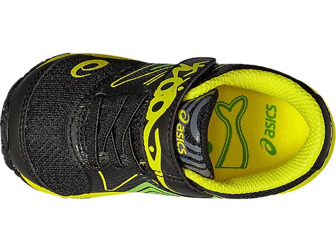 Top view of NOOSA TS, Black/Safety Yellow/Green Gecko