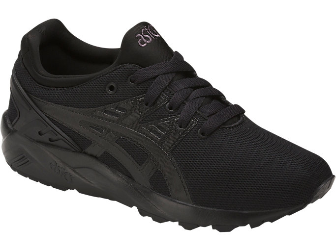 Front Right view of GEL-KAYANO TRAINER EVO GS, BLACK/BLACK