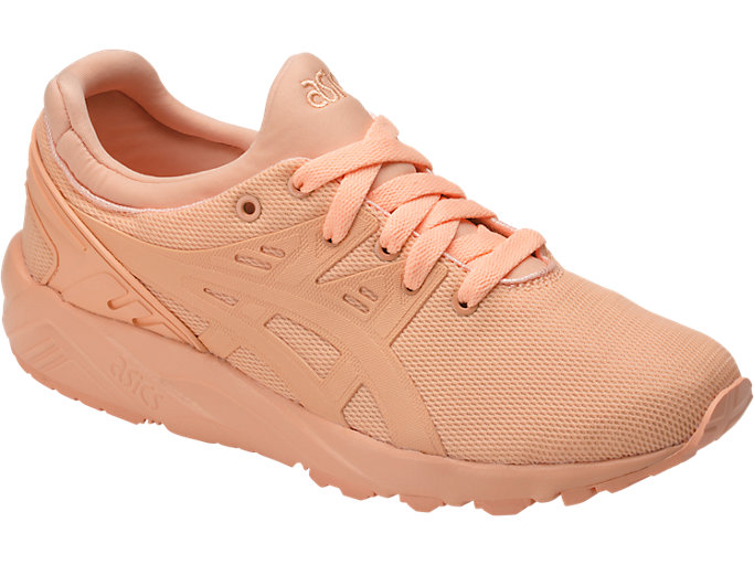 Front Right view of GEL-KAYANO TRAINER EVO GS, APRICOT ICE/APRICOT ICE