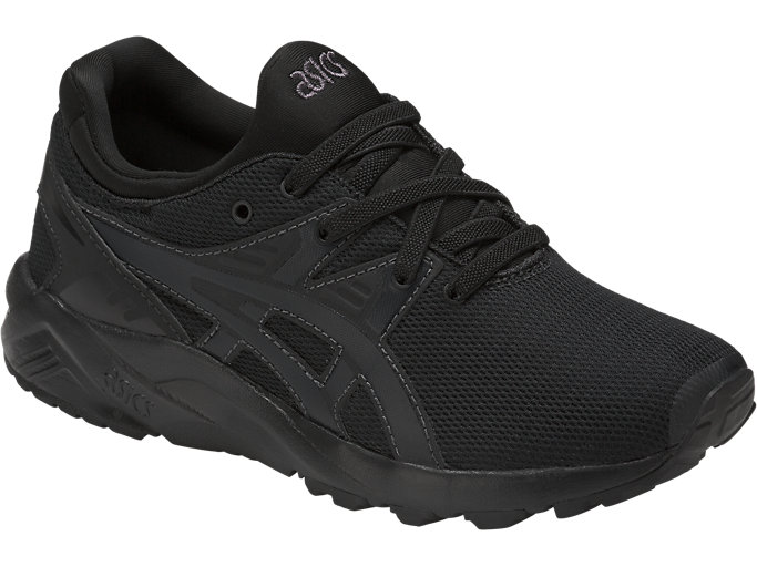Front Right view of GEL-KAYANO TRAINER EVO PS, BLACK/BLACK