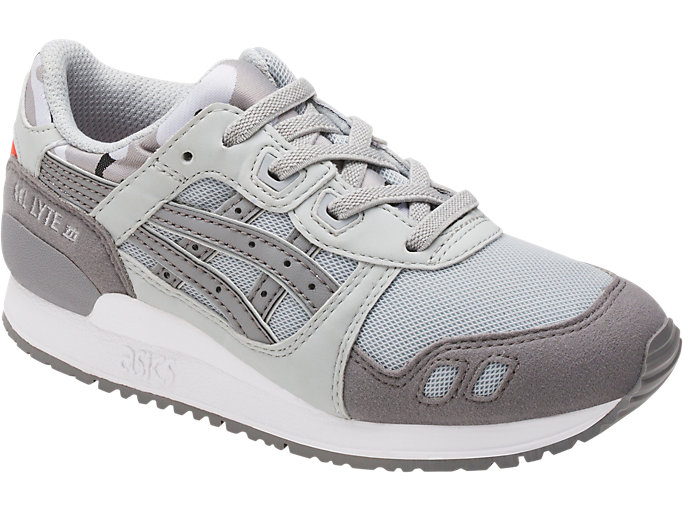 Front Right view of GEL-LYTE III PS, MID GREY/ALUMINUM