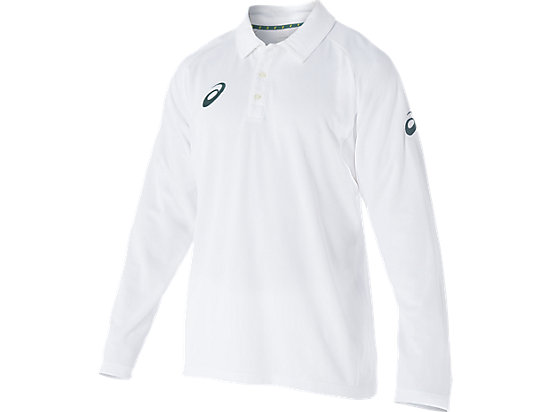 Cricket Playing L/S Polo Top White White / Olympian blue 3