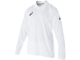 Cricket Playing L/S Polo Top White