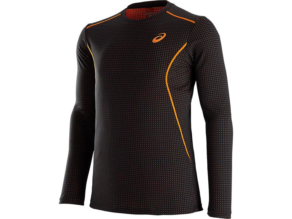 ウィンジョブ®クルーネックLSシャツ:ブラック×オレンジ