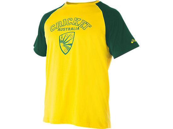 Cricket Australia Supporter Shield Print T-Shirt Yellow / Forest Green 3