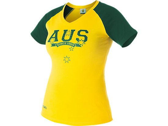 Cricket Australia Supporter AUS Print T-Shirt Women's Yellow / Forest Green 3