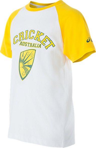 8f17ee1bd Cricket Australia Supporter Shield Print T-Shirt Youth White / Yellow 3 FT