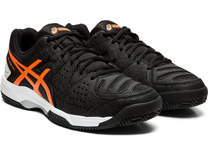 Front Right view of GEL-PADEL™ PRO 3 SG, BLACK/FLASH CORAL