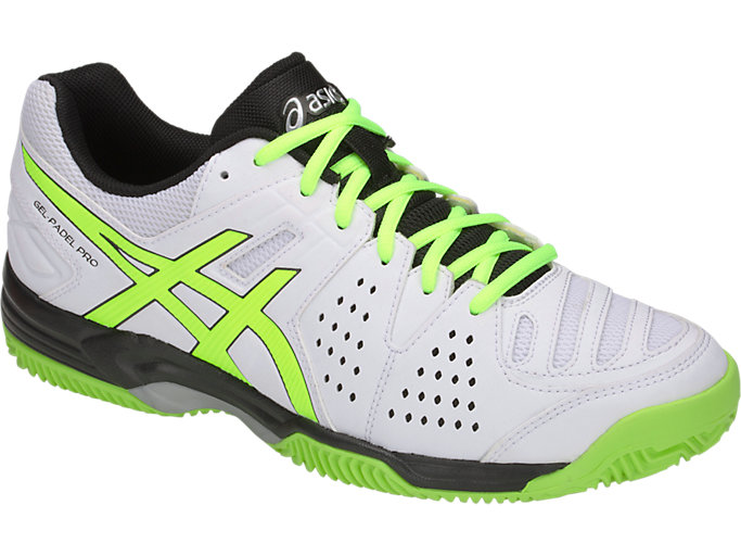 Front Right view of GEL-PADEL™ PRO 3 SG, WHITE/FLASH YELLOW
