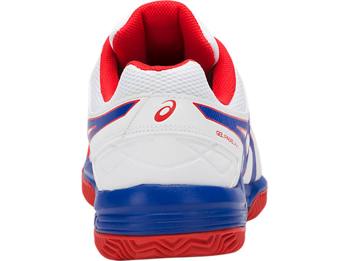 Back view of GEL-PADEL™ PRO 3 SG, WHITE/ASICS BLUE